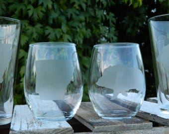 State of Arkansas Barware; Razorback Hog Glass Etching; University of Arkansas Glasses; Whoo Pig Sooie Kitchen Glass; Fayetteville AR