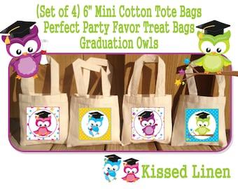 Preschool Kindergarten Toddler Graduation Promotion Owls Treat Favor Gift Bags Mini Cotton Totes Children Kids Boy Girl 4 Bags