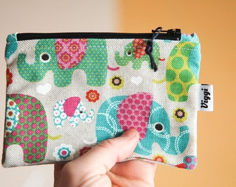 elephant coin purse / girl wallet / small cosmetic pouch / cable organizer / cute vegan wallet