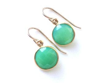 Chrysoprase Earrings, Mint Green Earrings, Gold