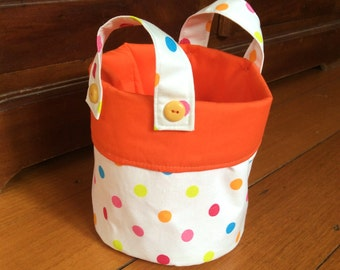 Small 15x14cm, Storage Container,Fabric Multi Colour Polka