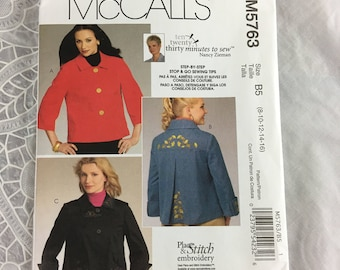 McCall's 5763 Sewing Pattern Misses' and Women's Jackets Size 8-16 / ten twenty thirty minutes to sew / Nancy Zieman / step-by-step sewing