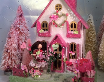 Valentines Putz House with Girl Pretty in Pink.
