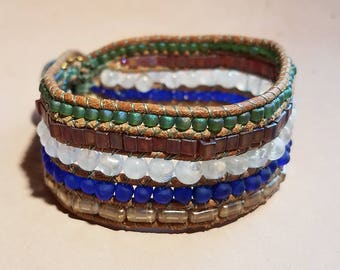 Moonstone and Cobalt Glass Beaded Woven Leather Bracelet