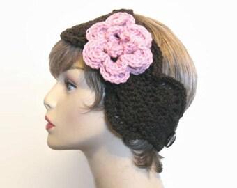 Crochet Headband Brown Headband with Flower  Brown Ear warmer brown knit earwarmer with Flower Crochet Earwarmer  Brown Ear Warmer  Headwrap