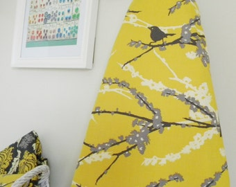 RESERVED for mom2babygirls - Ironing Board Cover - Sparrows in Vintage Yellow