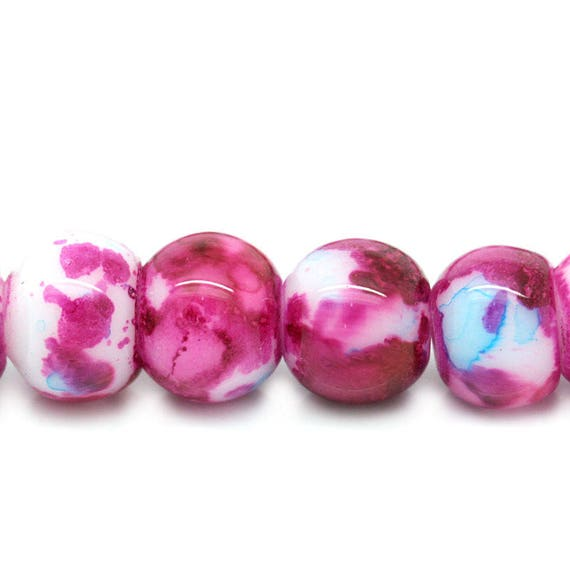 Set of 10 glass beads - light pink, blue and white - 8 mm