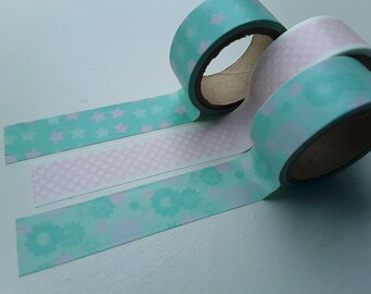 Set of 3 masking/washi tapes 15mmx3m in mint and softpink