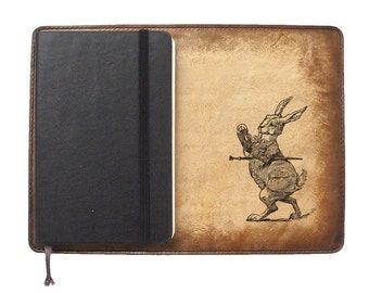 Moleskine Leather Notebook Cover [Large & Pocket Sizes][Customizable][Free Personalization] - Alice in Wonderland Rabbit