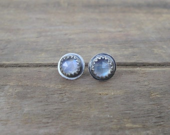 Rainbow Moonstone Rose Cut Studs // Sterling Silver Studs / Crystal Studs / Faceted Stone / Gemstone Studs / Round Studs / Rustic Earrings