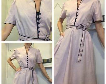 Vintage lilac purple 70s tea dress summer dress uk 10/12
