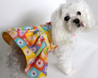 Summer Dog Dress, Size Small Multi color floral checkered dress for dogs, Designer Fashion Dog Clothes