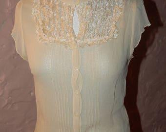 vintage lace yoke bodice size 36-40-42