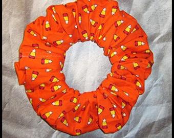 Halloween Hair Scrunchie, Holiday Fabric Hair Tie, Ponytail Holder , Candy Corn on Orange