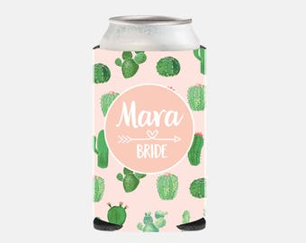 Bride Gift from Maid of Honor Bride Custom Can Cooler Cactus Bachelorette Party Favors Pink Wedding Party Gifts Pink Wedding Party Favors