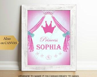 Princess Custom Name Art, Baby Girl Nursery, Princess room Decor, Pink Nursery art, Girls room decor, Princess wall art, Girl Nursery decor
