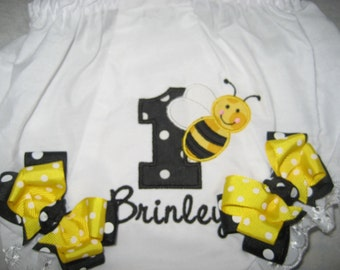 Baby girls Bumble bee birthday bloomers, first birthday bloomers, monogrammed bloomers, personalized bloomers, cake smash
