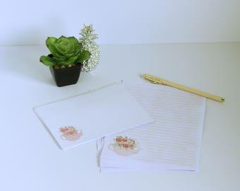 Floral teapot stationery set
