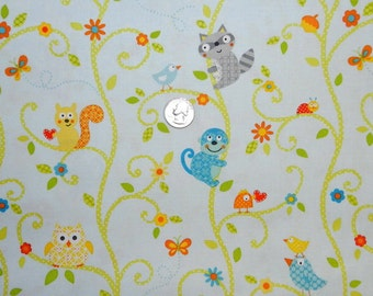 Happi Animal Tree on Light Blue  - Fabric By The Yard