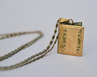 Antique Hayward Book Locket Necklace . 12K Gold Filled . 2 Photos