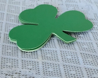 Vintage Green Shamrocks Paper Card Stock Embellishments for Saint Patrick's Day Crafts and Decor