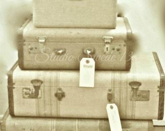 "Retro Photograph, Vintage Luggage Photo, Rustic Beige Decor, Travel Art, Retro Art, Shabby Luggage, Vintage Suitcase Print- ""Retro Travel"""