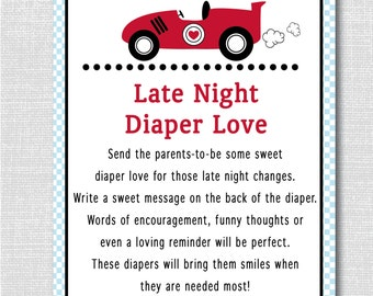 Race Car Baby Shower Diaper Love Activity - Baby Shower Activity - Race Car Baby Shower - INSTANT DOWNLOAD
