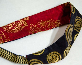 "Fabric Headband -Adult/Teen   Measures 2 "" Reversable Wide Hair Scarf - Hair Wrap   Black and Gold / Brick and Gold"