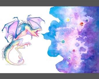 Galaxy Dragon 'Sky Painter' art print