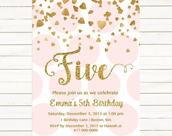 Pink and Gold 5th Birthday Invitation Girl, Any Age Pink Gold Heart Confetti Girl Fifth Birthday, Fifth Five Polka Printable Digital JPEG