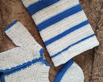 Baby layette, baby boy set, crochet gift set, handmade layette, crochet blanket coat and hat, blue boy's crochet set, hand made gift set