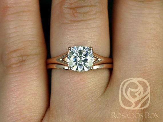 Rosados Box Khaleesi 7.5mm 14kt Rose Gold Cushion F1- Moissanite Split Cathedral Wedding Set