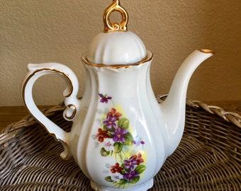 Vintage ceramic floral, gold trim tea pot