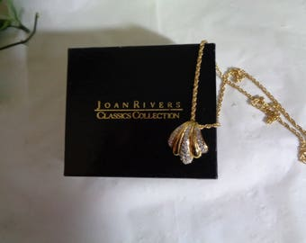 Joan Rivers Rhinestone Studded Gold Plated Pendant Necklace Original Box 20 inch Chain