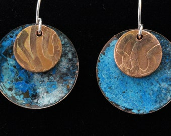 Sweet Blue Patina Copper Earrings with Overlays (031818-025)