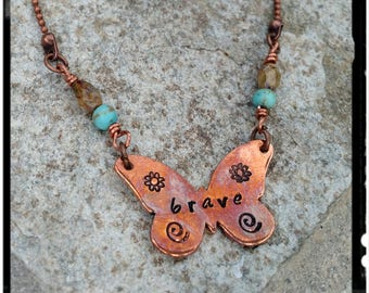 Brave • Copper Butterfly Necklace • Customize Butterfly Word/Symbols - Hand Stamped//Czech Beads//Copper Ball Chain