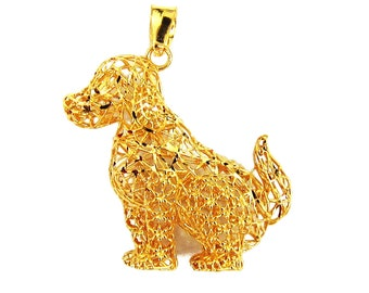 18K 21K 22K Yellow Gold Doggie Pendant Necklace Attractive Jewelry for Her