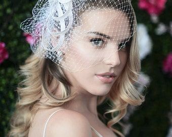 SOPHIA w/ ZOOEY VEIL - bridal hairclip, bridal hair comb, wedding headpiece, bridal headpiece, rhinestone bridal headpiece, bridal accessory