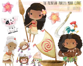 The Polynesian Princess clip art - Instant Download - PNG Files.