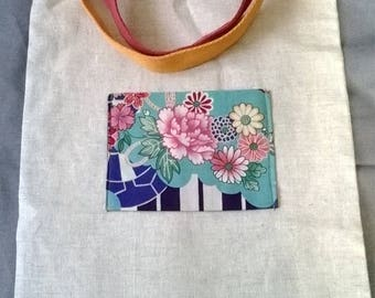 Tote bag in linen fabric and Japanese
