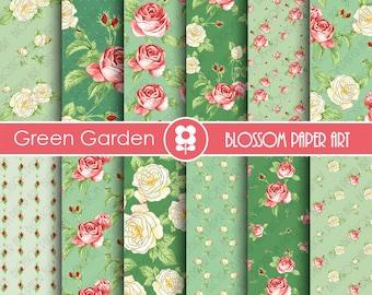 Green Scrapbook Paper Floral Digital Paper  Roses Digital Paper Pack, Floral digital backgrounds - 1843