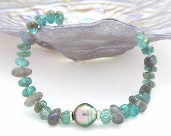 Tahitian Pearl, Apatite, Labradorite Beach Bracelet