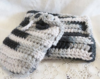Wash Cloth and Soap Saver Set Crocheted Cotton in Shades of Gray