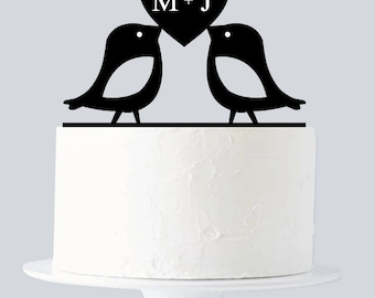 Love Birds Cake Topper, Custom First Name Initial A636