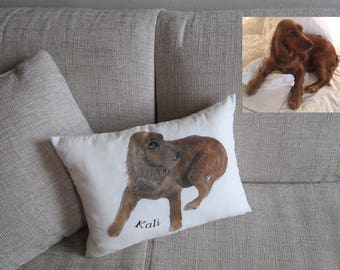 personalized dog throw pillow kids bedroom decor couch sofa bed decorative pillow  animal art painted cushion of your pet
