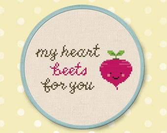Happy Beet Cross Stitch Pattern, My heart beets for you, Vegetable Modern Simple Cute Counted Cross Stitch PDF Pattern. Instant Download