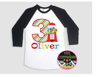 Candy  Birthday Raglan shirt Personalized just for you Any Age Any Number