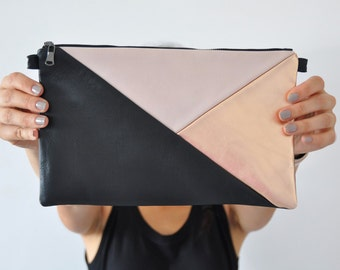 Leather Clutch, Handbag, Evening Clutch, Cross Body Bag, Leather Handbag, Black and Gold