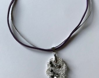 Ladies Silver Hematite Bead/Necklace/Purple Faux Suede/Pendant Knitted/Birthday gift/Anniversary/Beady Shine/Present