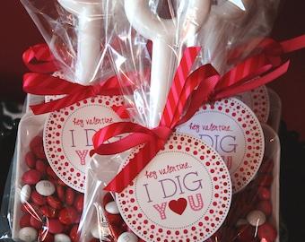 Valentine's Day Label, Tag, Sticker - Printable - Hey Valentine...I Dig You by Abigail Christine Design